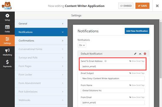 İş başvuru formunun gönderildiği e-posta adresini değiştirmek