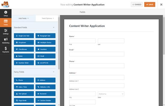 WPForms'daki varsayılan iş başvurusu yükleme formu şablonu