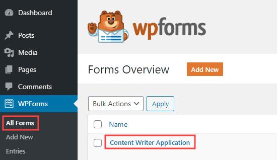 Düzenlemek için iş başvuru formunuzu açın