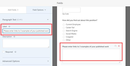 WPForms'daki bir alan için etiketi düzenleme