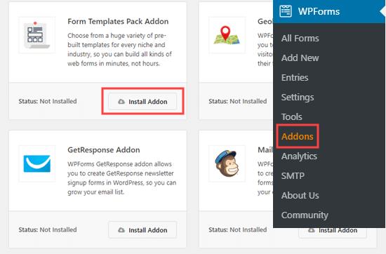 Form şablonları paketi eklentisini WPForms'a ekleme