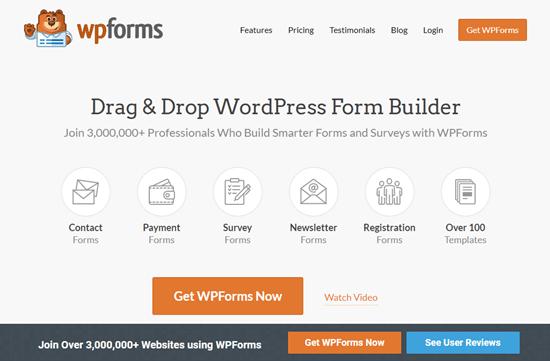 WPForms web sitesi