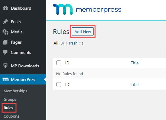 MemberPress'e yeni bir kural ekleme