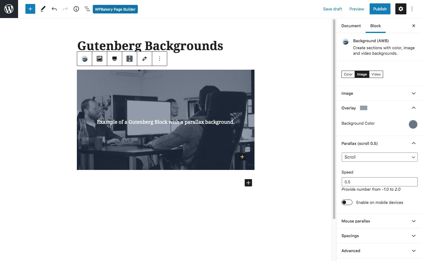 Gelişmiş WordPress Arka Planları Gutenberg Ayarları