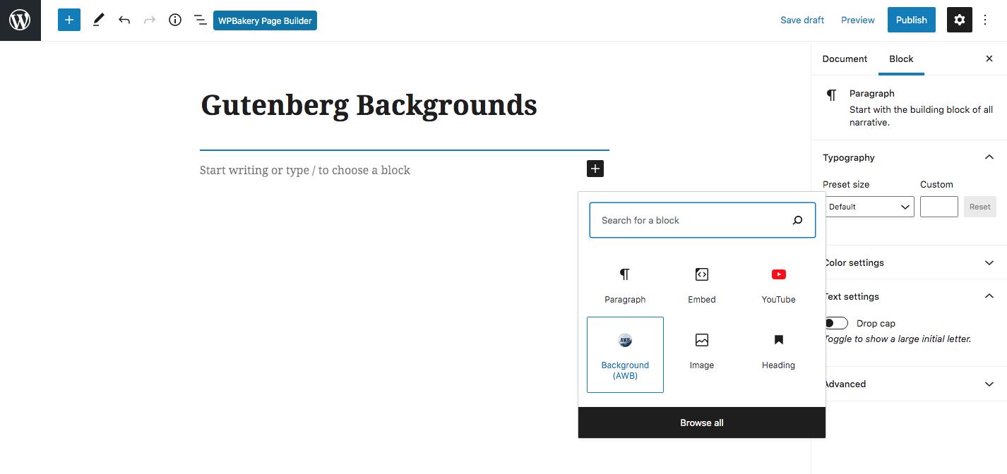 Gelişmiş WordPress Arka Planları Gutenberg