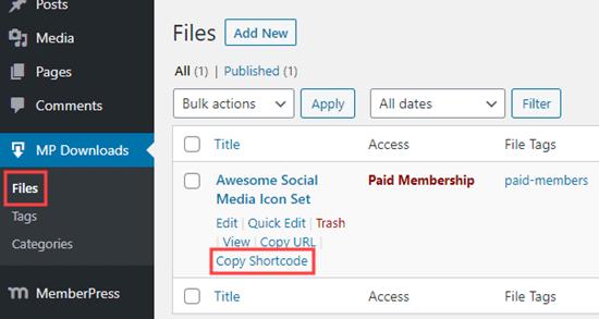 Dosyanız için MemberPress kısa kodunu kopyalama