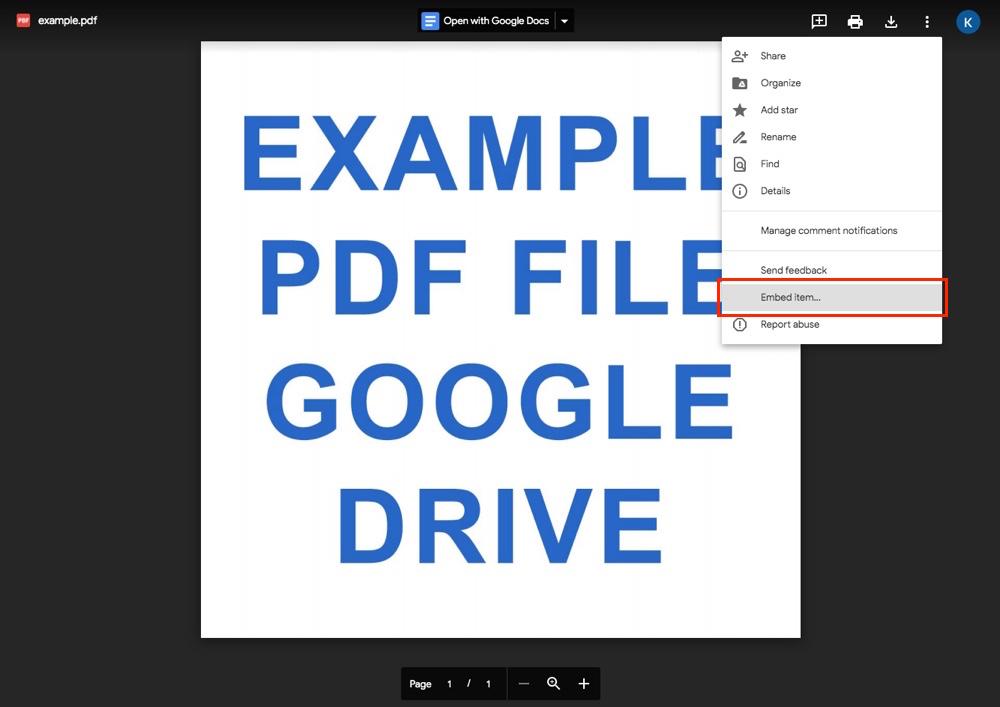 Google Drive: Yerleştirme Seçeneği