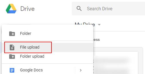 Google Drive dosyası yükleme
