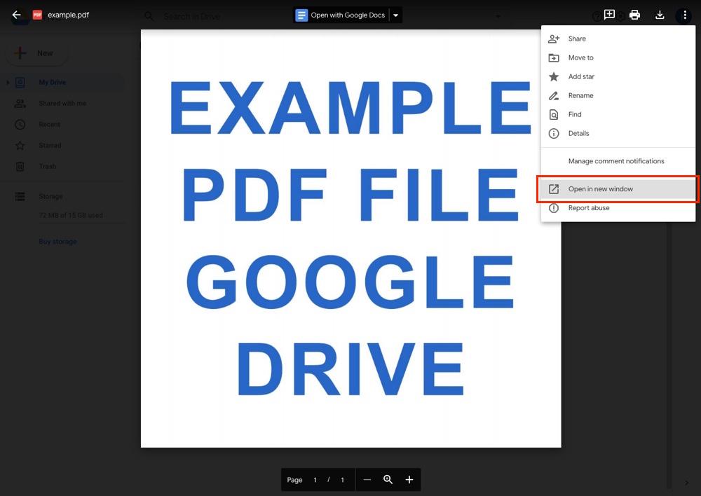 Google Drive: PDF'yi Yeni Pencerede Aç