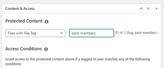 Dosya etiketini üyelik kuralınıza ekleme