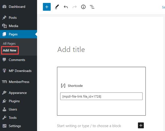 WordPress'te yeni bir sayfa oluşturmak ve indirme kısa kodunuzu eklemek