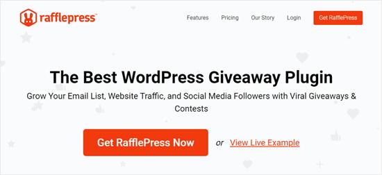 RafflePress web sitesi