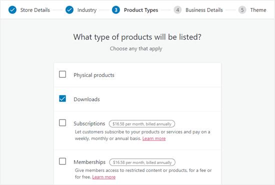 WooCommerce ürün türünüz için 'İndirmeler'i seçin