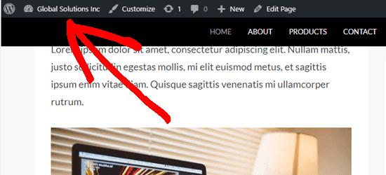 WordPress yönetici çubuğu, yapışkan menünün üzerinde görünür