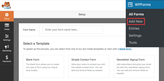 Yeni WPForm ekle