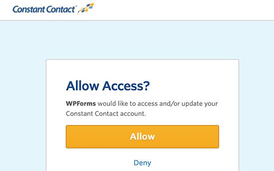 WPForms'un Sabit İletişim ile bağlanmasına izin ver