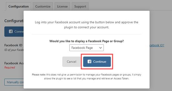 Facebook Feed Pro'yu Facebook'a bağlamaya devam edin