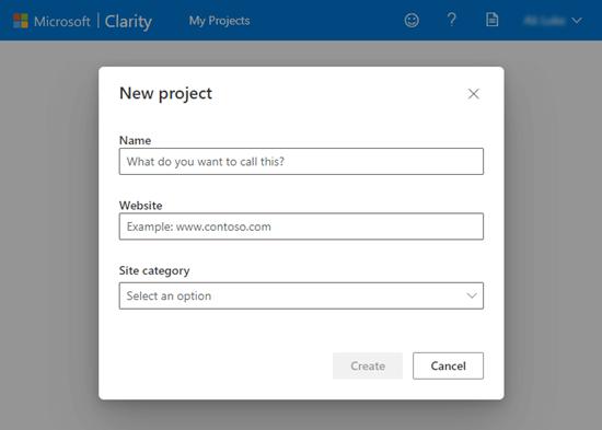 Microsoft Clarity'de yeni bir proje kurma