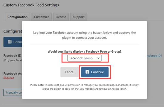 Açılır menüden Facebook Grubu'nu seçin ve devam etmek için tıklayın