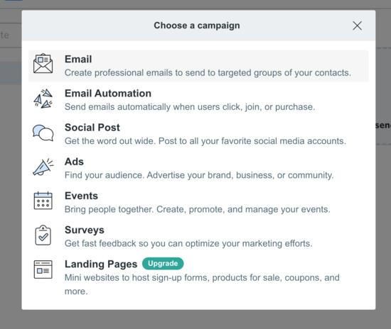 Constant Contact'ta e-posta seçin