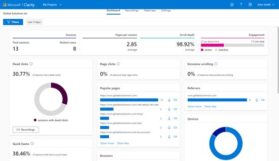 Microsoft Clarity analiz panosunu görüntüleme