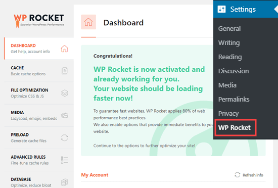 WP Rocket'in aktif olduğunu ve sitenizde çalıştığını gösteren mesaj