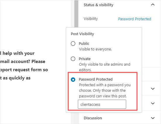 Sayfayı WordPress'teki form ile koruyan şifre