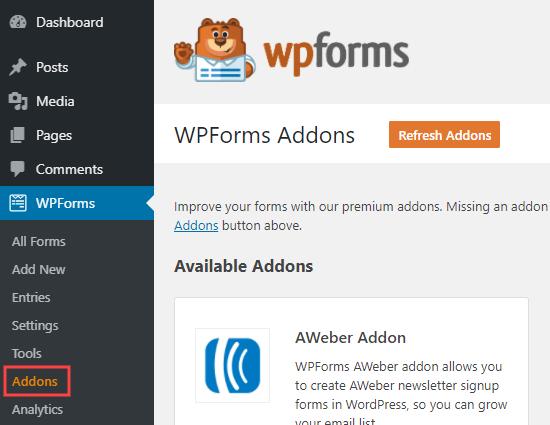 WordPress yöneticinizdeki WPForms eklentileri sayfası