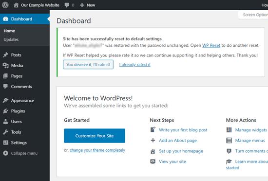 WPReset'in WordPress sitenizi başarıyla sıfırladığınızı onaylayan mesajı