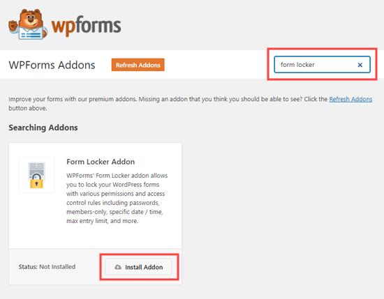 WPForms için Form Locker eklentisini yükleme