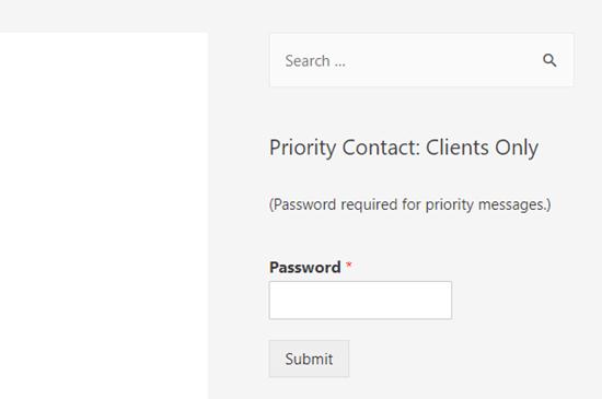 WordPress sitesinin kenar çubuğundaki şifre korumalı bir form