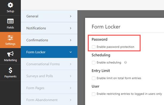 WPForms'da Form Locker ayarları sayfasına gidip şifre kutusunu kontrol etme