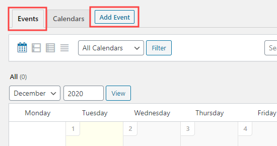The Add Event button that lets you create a new event