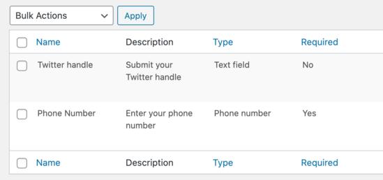 See all custom profile fields