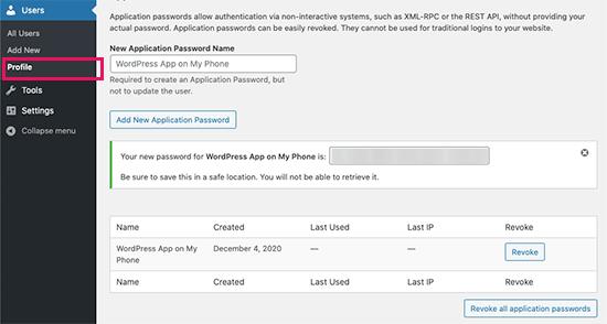 WordPress 5.6'daki uygulama şifreleri
