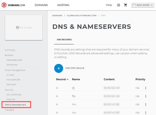 Domain.com alanınız için DNS ayrıntılarını görüntüleme