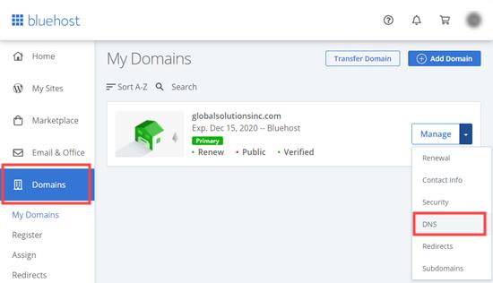 Bluehost'ta etki alanınız için DNS ayarlarını yönetme