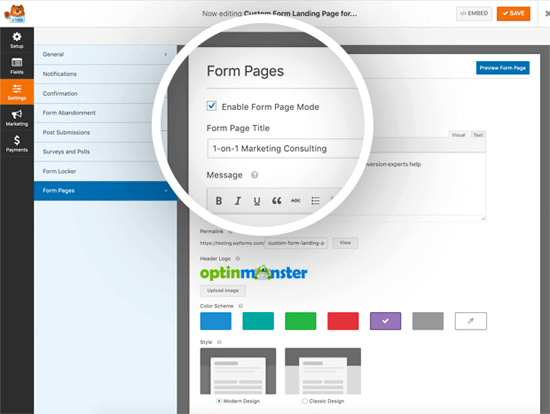WPForms'a göre Form Sayfaları