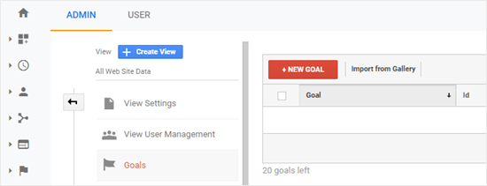 Google Analytics new goal