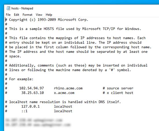 Bilgisayarınızdaki 'hosts' dosyasının içeriğini kontrol etme