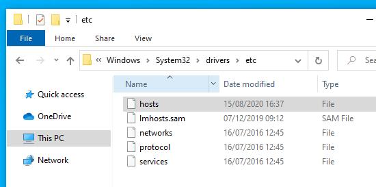 Bilgisayarınızdaki 'hosts' dosyasını bulma