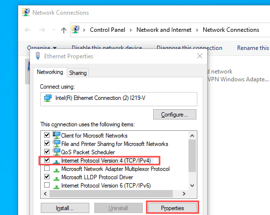 İnternet Protokolü Sürüm 4 (TCP / IPv4) seçeneğini seçme