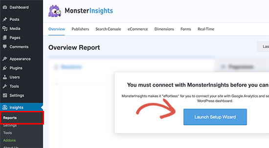 Launch MonsterInsights set up wizard