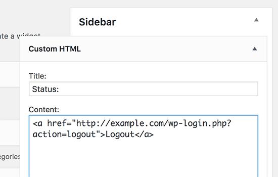 Çıkış HTML widget'ı