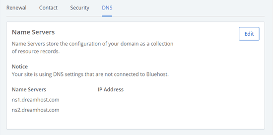 Bluehost'ta listelenen güncellenmiş ad sunucusu ayrıntıları