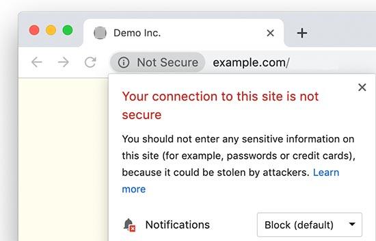 Güvenli Değil HTTP web sitesi
