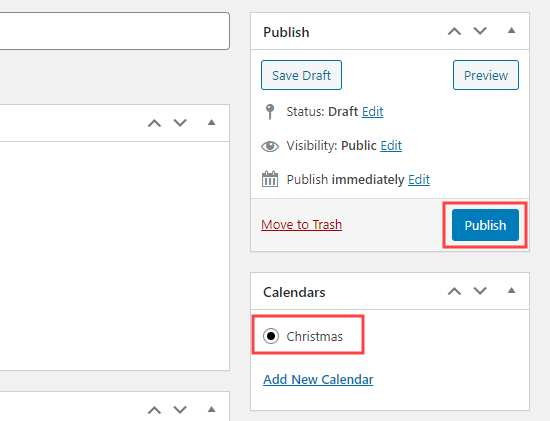 Select the calendar for your event then publish the event
