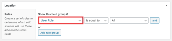 User role settings