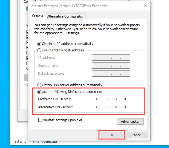 Google'ın genel DNS sunucularının ayrıntılarını kullanma