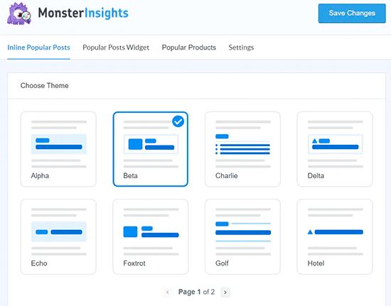 MonsterInsights Popüler Gönderi Şablonları